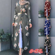 Plus Size, Floral, Long Sleeve, Robe