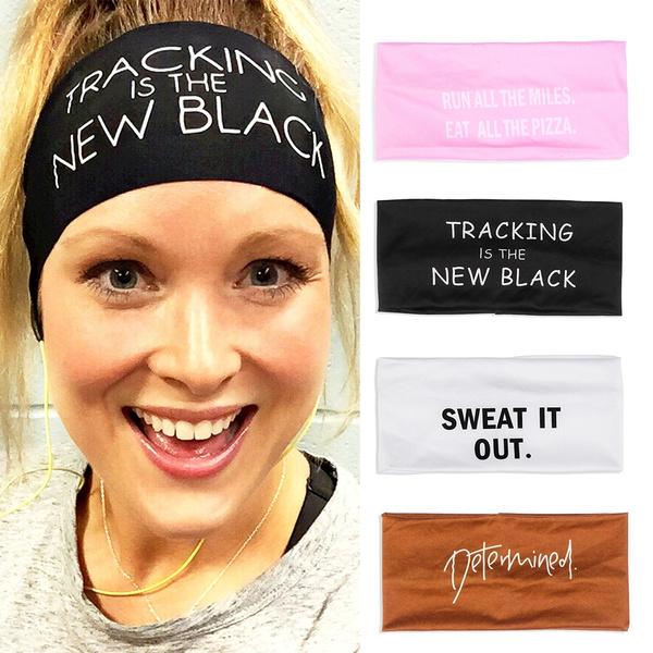 Print Soft Elastic Gym Sports Wide Headband Turban Stretch Hairband Sweat Band