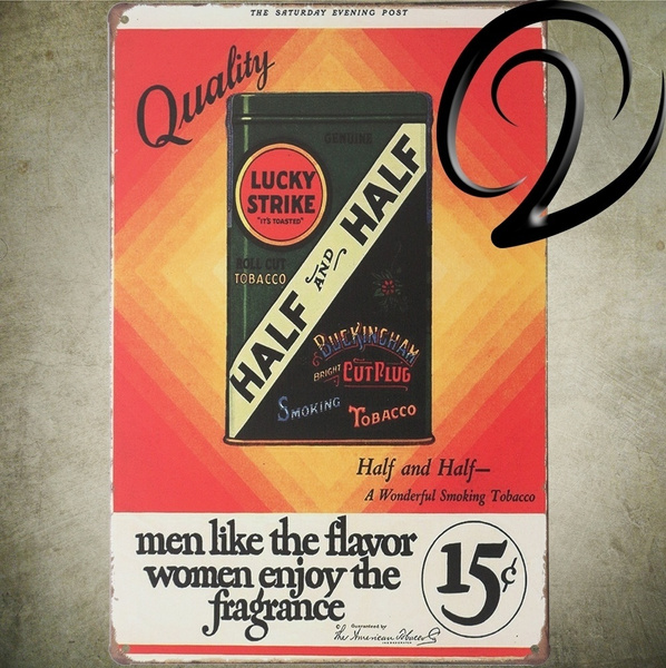 Vintage Lucky Strike Fragrance Cigarettes Half Tabacco Metal Wall Sign Wall  Sticker Decals