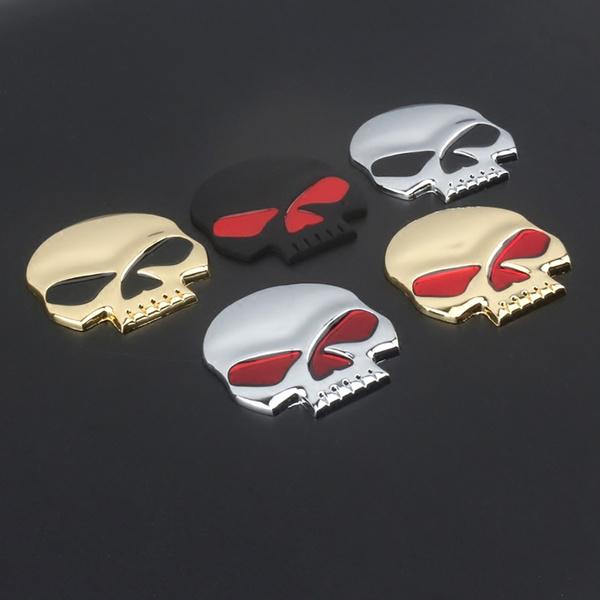 Auto Car Decor 3D Metal Skull Bone Emblem Badge Decal Sticker Motorcycle Decor