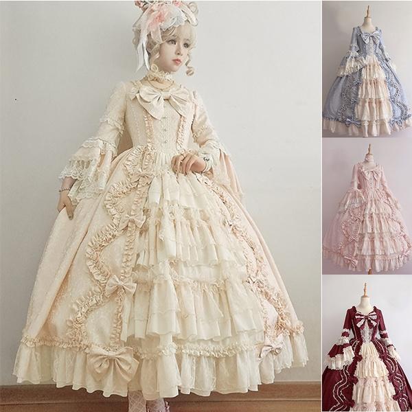 4 Colors Long Sleeve Classic Lolita Dress Sweet Cute Ruffle Dress Girls  Anime Cosplay Costume Plus Size