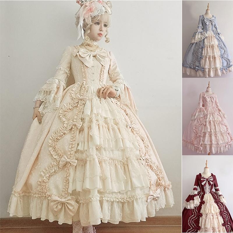 Lolita Dress Womens Long Sleeve Classic Sweet Girls Cosplay Costume ...