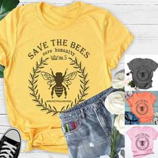 Summer, honeybee, letter print, csualshirt