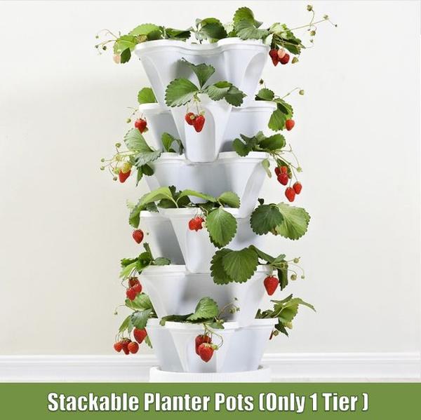 1 Tier Stackable Planter Pots Garden Outdoor Strawberry Herb