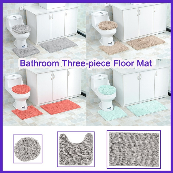 Amazing Extra Soft Absorbent Bathroom Rug Luxury Chenille Shaggy Rugs Shower Plush Carpet Toilet Mat 3 Piece Anti Slip Shower Rug Andrewgaddart Wooden Chair Designs For Living Room Andrewgaddartcom