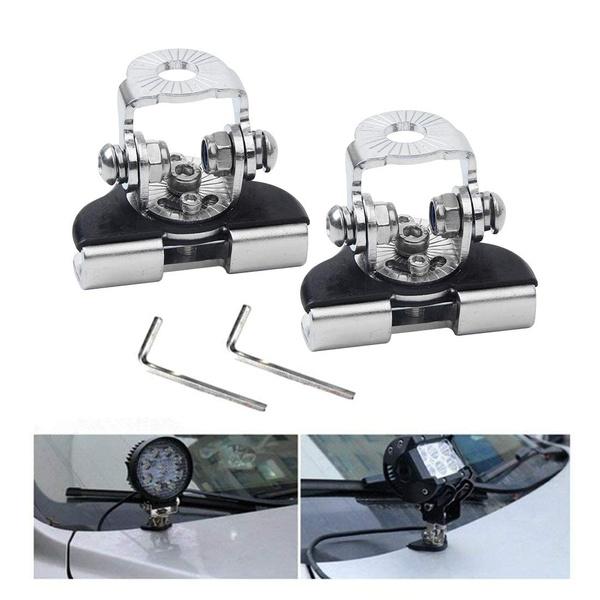 2X Car Universal Hood Mounting Brackets LED Worklight Bars Holder For Jeep Truck