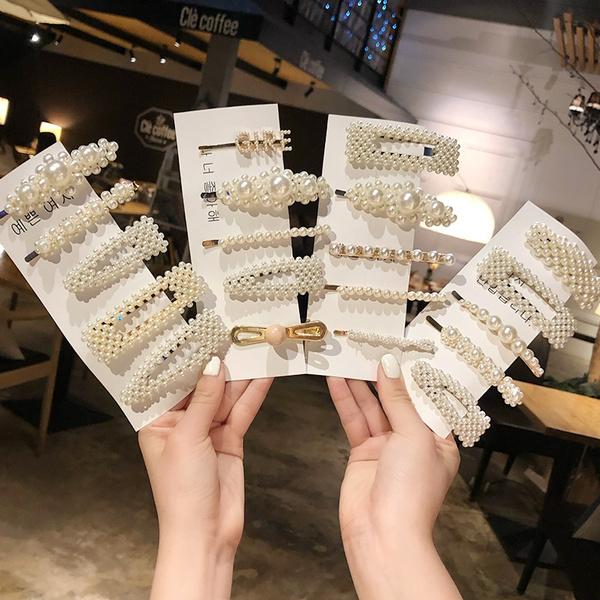3PCS Women Sweet Pearl Hair Clips Fashion Hairband Hairpins Barrette Hair Pins