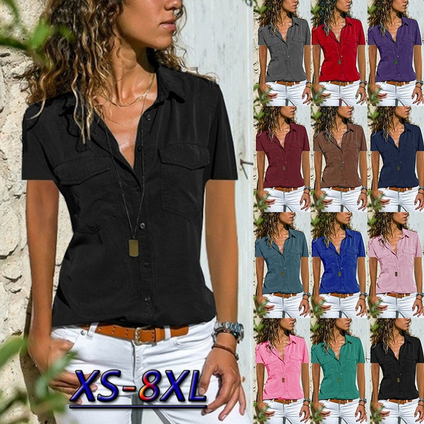 shirtsforwomen, Summer, Plus Size, short sleeves