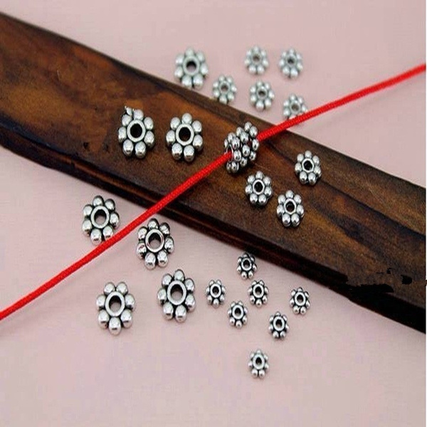 1000 Tibetan Silver Daisy Flower Shaped Spacer Beads Jewelry Making DIY 4mm//6mm