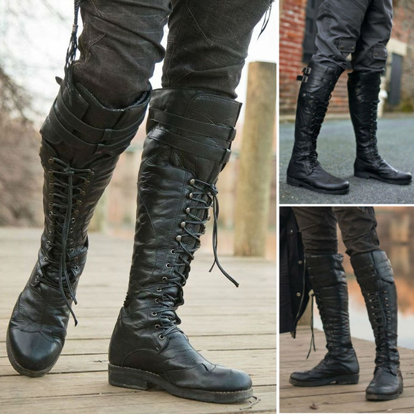 superior performance great quality online retailer Men's Vintage Medieval Knee High Boots Cross Strap Lace Up Shoes Flat Cool  Moto Boots Fall Winter Tall Renaissance Style Boots