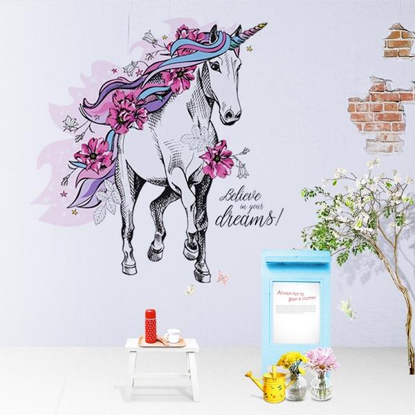 horse, Flowers, art, Home Decor