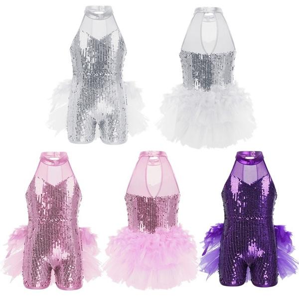 Kids Girls Dancewear Outfit Shiny Jazz Ballet Dance Stage Performance Tutu Dress