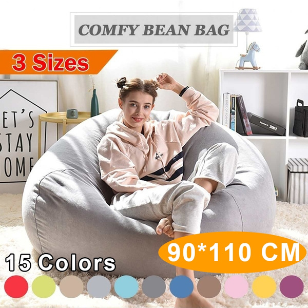 90*110CM Large Bean Bag Sofa Cover Lounger Chair Sofa Ottoman Seat Living  Room Furniture Without Filler Beanbag Bed Pouf Puff Couch Tatam (No Filling)