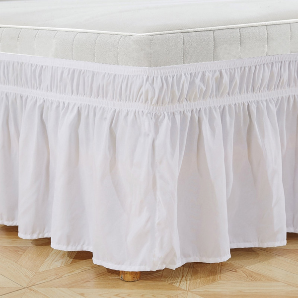 Solid Color 3 Sided Wrap Around Elastic Ruffled Bed Skirt 4 Size Twin Full Queen King 15 Inch Drop Dust Ruffle Colors White Black Grey Navy