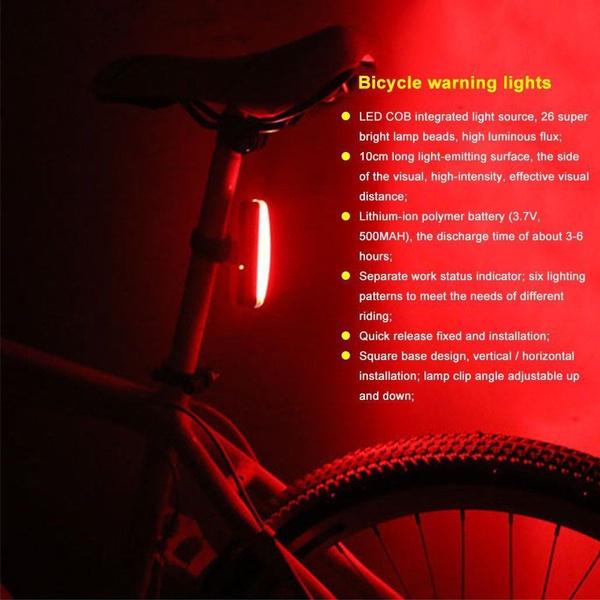 Waterproof LED Bike Tail Light Bicycle Rear Warning Lamp USB Charging Night Ride