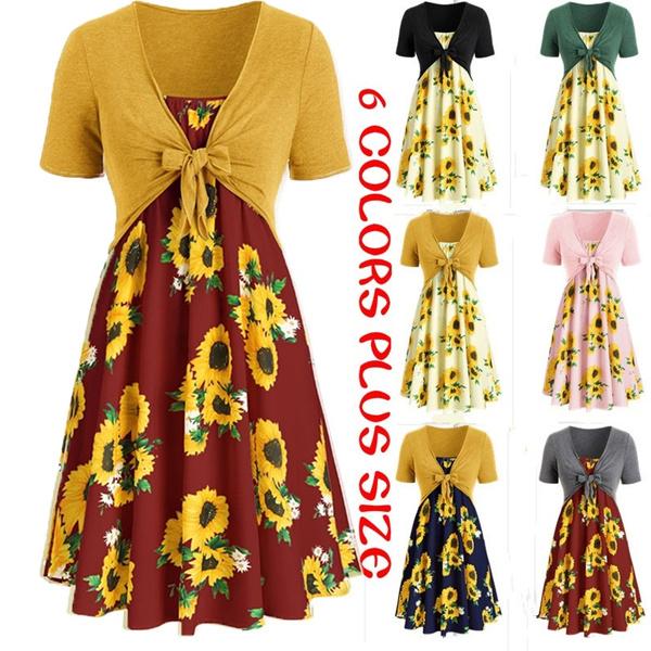 Women Sunflower Dress Summer Fashion Knotted Short Sleeve Tunic Two Piece  Dress Plus Size S-5XL