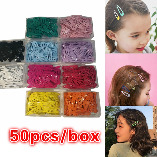 50pcs/box Candy Color BB Clips Sweet DIY Hair Clips Fashion Hairpins Snap  Hair Clip Hairpin for Children Women Kids Baby Girls Headwear Hair ...