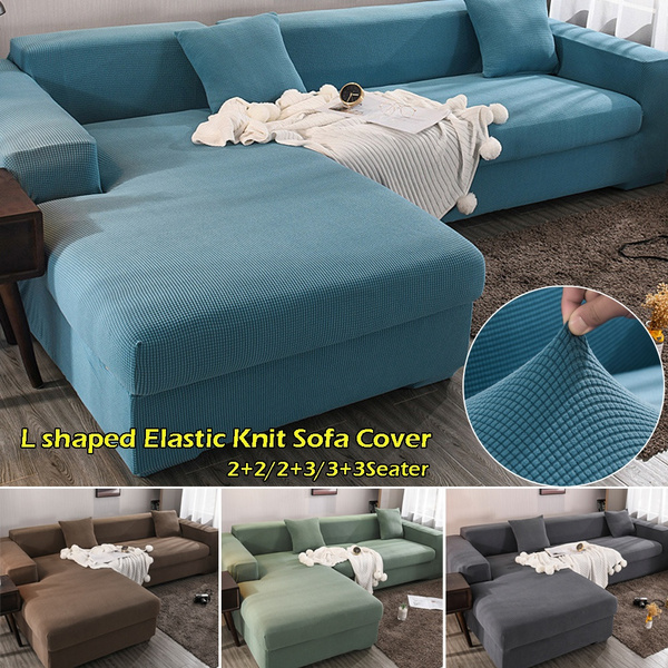 2 Pieces Covers for L Shape Sofa Knitted Stretch Elastic Corner Sofa Cover  Living Room Chaise Lounge Couch Covers