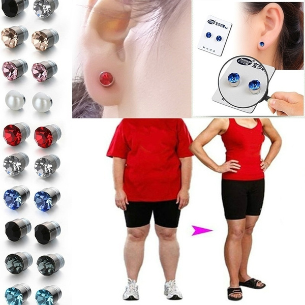 10 Colors Crystal Magnetic Stud Earring Fake Magnetic Nose Ear Lip Stud Non Piercing Tragus Nose Stud For Magnetic Weight Loss Earrings