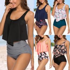 Summer, Plus Size, ruffled, bathing suit
