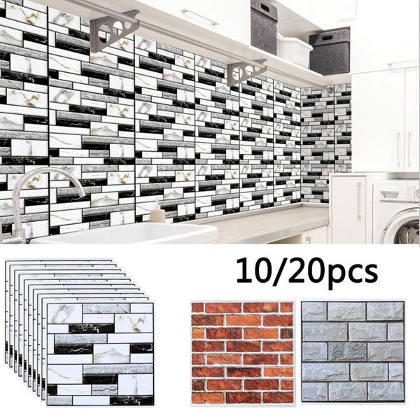 20pcs Tile Stickers Self-adhesive Bathroom Kitchen Removable Floor Sticker DIY