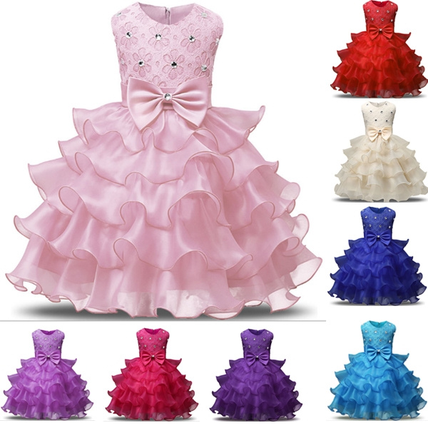 New Fashion Girl Dress Sleeveless Kid Dresses Girls Clothes Party Princess  Vestidos 5 6 7 8 Year Birthday Dress Christmas Baptism Plus Size