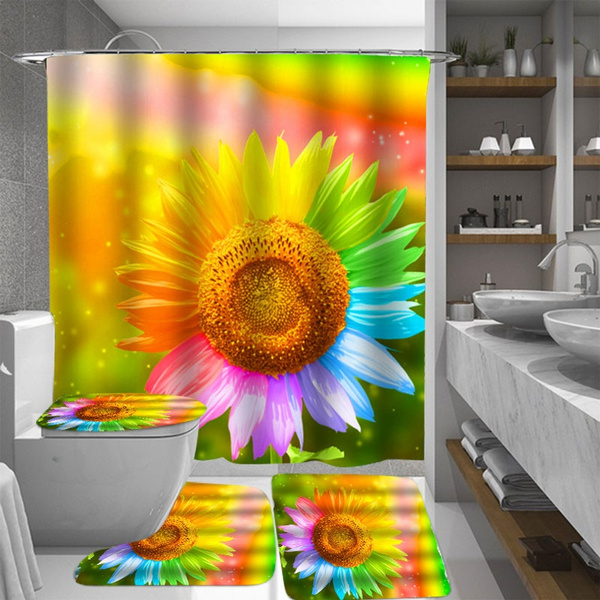 Multicolor Sunflower Bathroom Set Waterproof Shower Curtains Non Slip Floor Mat Rug Lid Toilet Cover Suit Bath Curtain With 12 Hooks