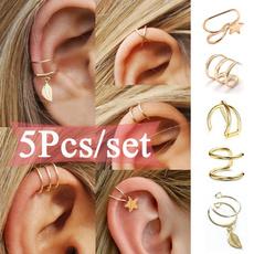 Earring Cuff, leaf, punk earring, Simple