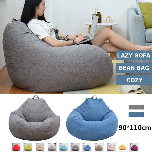 Pleasant Large Bean Bag Color Sofa Cover 90 110Cm Lounger Chair Sofa Seat Living Room Furniture Without Filler Beanbag Bed Pouf Puff Couch Tatam With Footstool Andrewgaddart Wooden Chair Designs For Living Room Andrewgaddartcom