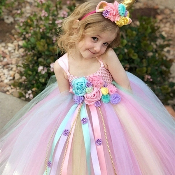 9d0c3e5172e22 Girls Kids Flower Unicorn Birthday Outfits Cosplay Fancy Costume Princess  Dress up Lace Tulle Pageant Party Dance Gown