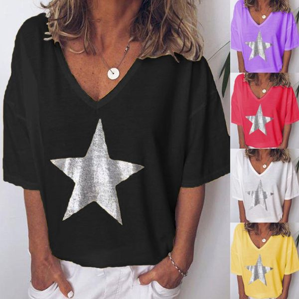 Women Fashion Loose Short Sleeve Cotton Casual Blouse Shirt Tops Summer T-shirt