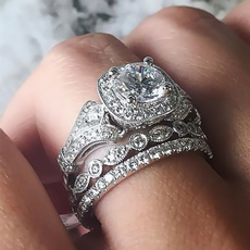 White Gold, Silver Jewelry, ringsset, wedding ring