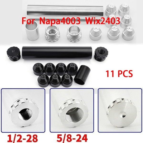 11 Pcs 1/2-28 5/8-24 Silver/Black Fuel Trap Solvent Filter Aluminum  Black/Silver For NAPA 4003 WIX 24003 Auto Filters 1x6