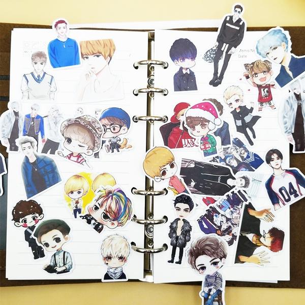 32pcs Creative Cute Self Made Watercolor Korea Boy Background Scrapbooking Stickers Decorative Sticker Diy Craft Photo Album