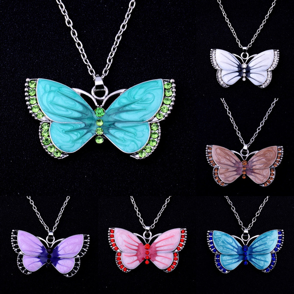 Fashion Turquoise Crystal Butterfly Chain Pendant Woman Necklace Fashion Jewelry