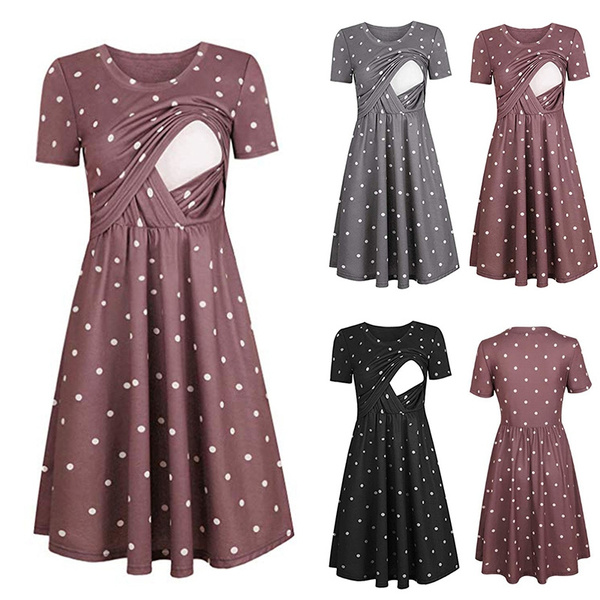 Summer Nursing Dress Plus Size Maternity Pregnancy Dress Short Sleeve  Breastfeeding Dress