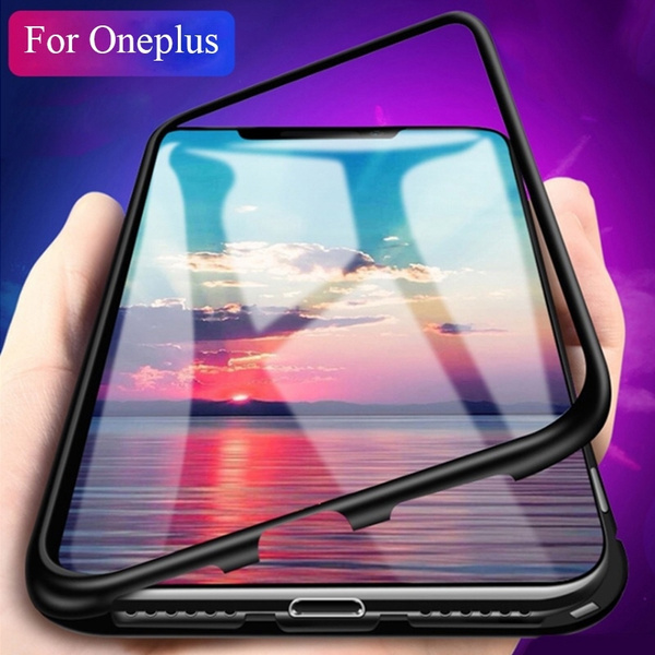 sports shoes 63692 5eb91 Magnetic Adsorption Metal Case Tempered Glass Back Cover Case for OnePlus 7  / OnePlus 7 Pro / OnePlus 5 / OnePlus 5T / OnePlus 6 / OnePlus 6T ...