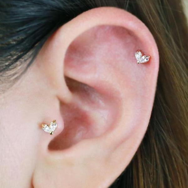One Piece Cz Leaf Piercing Tragus Earring Dainty Barbells Bar Cartilage Stud Helix Conch Rook