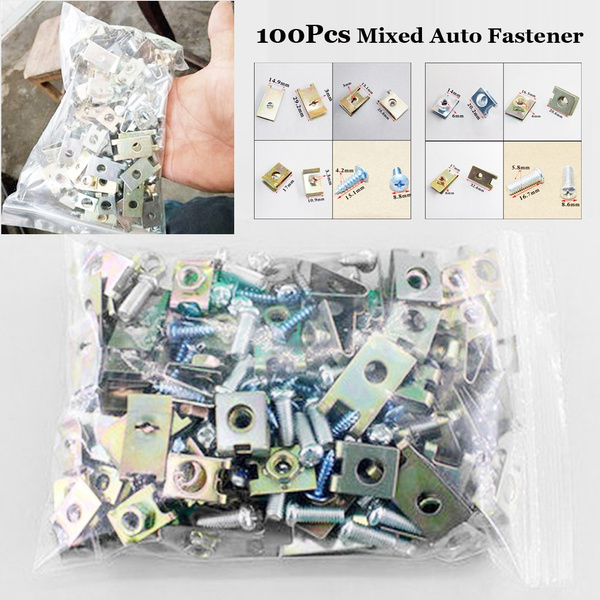 Auto Fasteners Car Body Door Panel Trim Fixed Screw U Type Gasket Clip 100Pcs