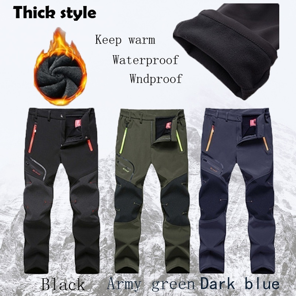 Men Outdoor Trousers Waterproof Thicken Warm Pants Climbing Hiking Camping Pants