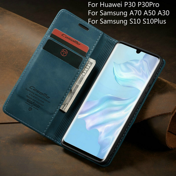Leather Wallet Case For Huawei P30 Pro Magnetic Retro Card Stand Flip Cover  For Huawei P30 / P Smart 2019 Samsung A70 A50 A40 A30 S10 S10Plus IPhone