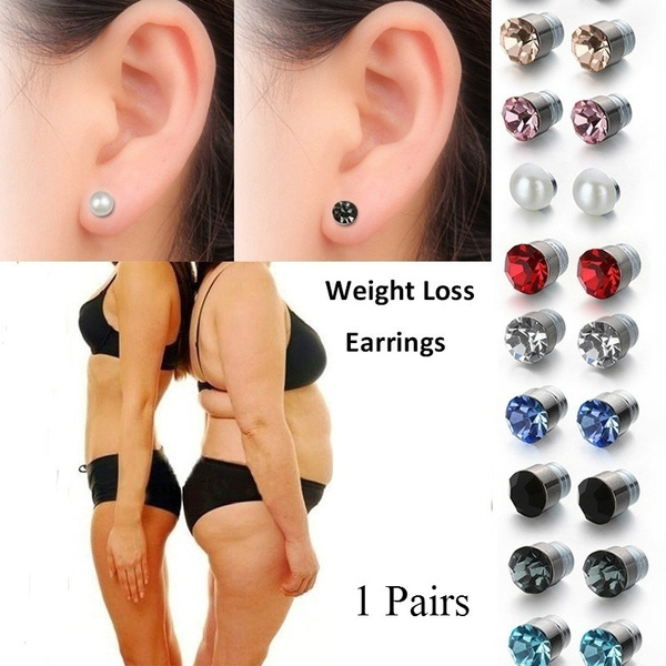 1 Pairs Women S Fashion Crystal Magnetic Stud Earring Fake Magnetic Nose Ear Lip Stud Non Piercing Tragus Nose Stud For Magnetic Weight Loss Earrings