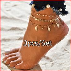 ankletsforwomen, Chain, ankletbraceletsset, Ankle
