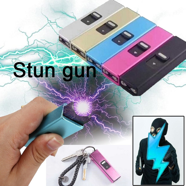 Rechargeable LED Flashlight Key chain Mini Self-Defense Electric-Shocker  Outdoor Sports Sporting Goods