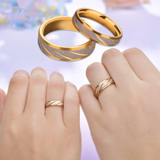 Couple Rings, Steel, 18k gold, wedding ring