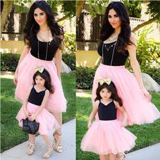 pink, Sleeveless dress, Family, kidsgirldresse