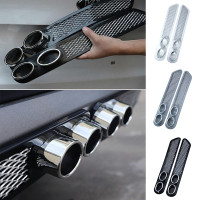 2× Universal Car Simulation Grid Double Cylinder Exhaust Pipe Tube Decoration