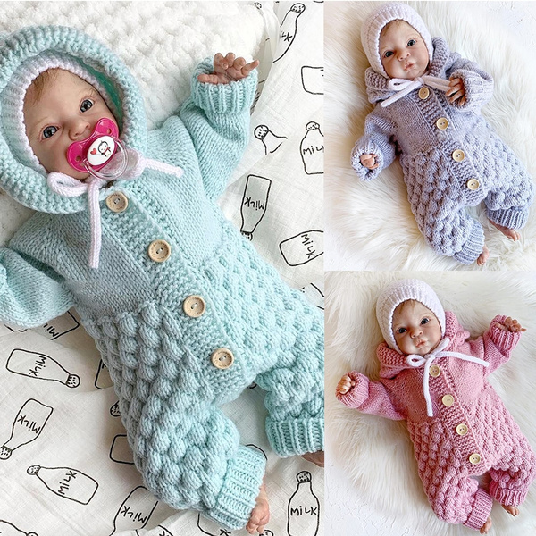DFSanaShanao Newborn Thick Romper Jumpsuit Knitted Sweater Toddler Warm Winter Outfits Clothes Bodysuit for Baby Boy Girl