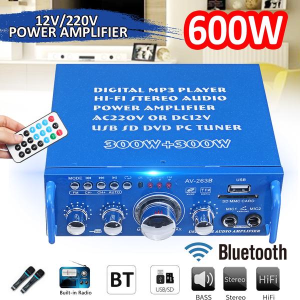 600W HIFI Audio Stereo Power Amplifier bluetooth FM Radio 2CH Car Home
