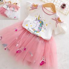girlsunicornoutfit, Summer, girlsshortsleevedre, kids clothes